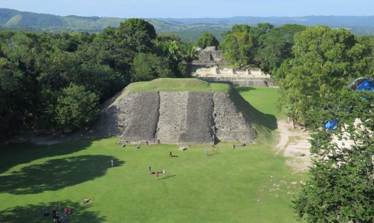 View of the Xunantunich mayan ruins in belize