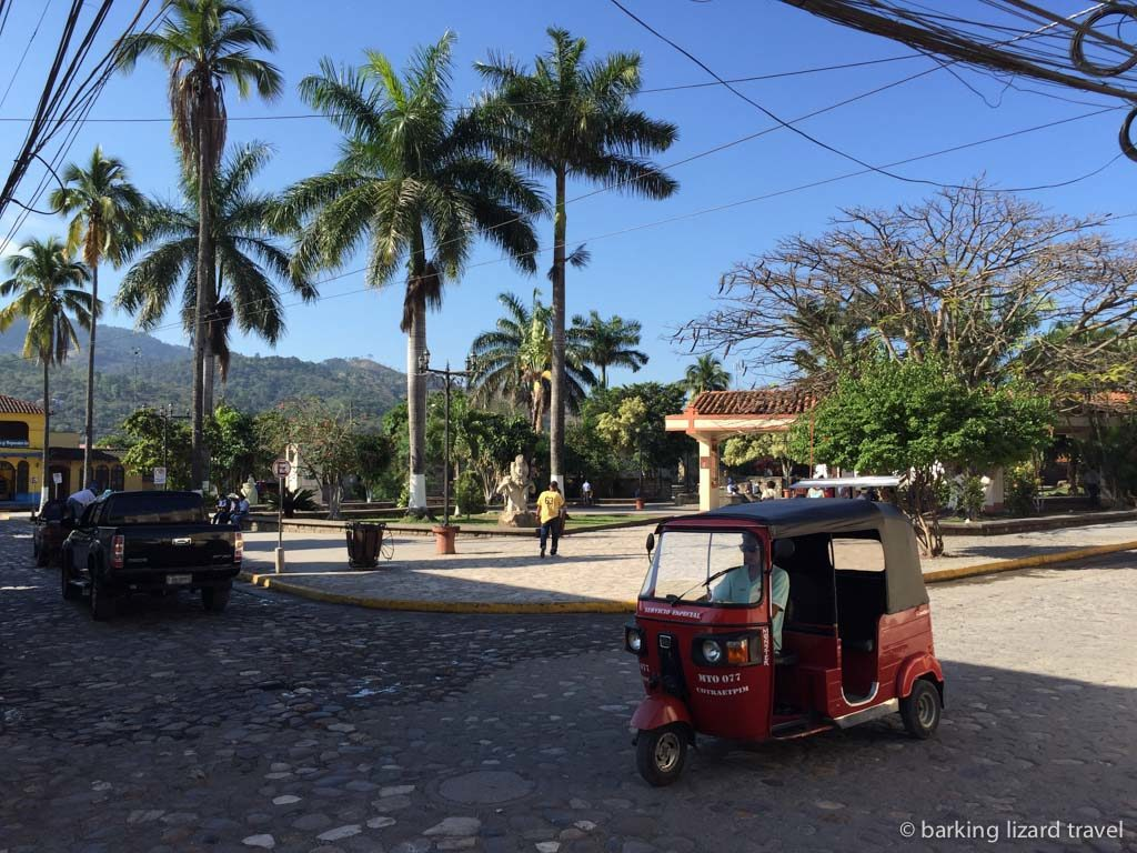 Street scene in the town of copan ruinas honduras
