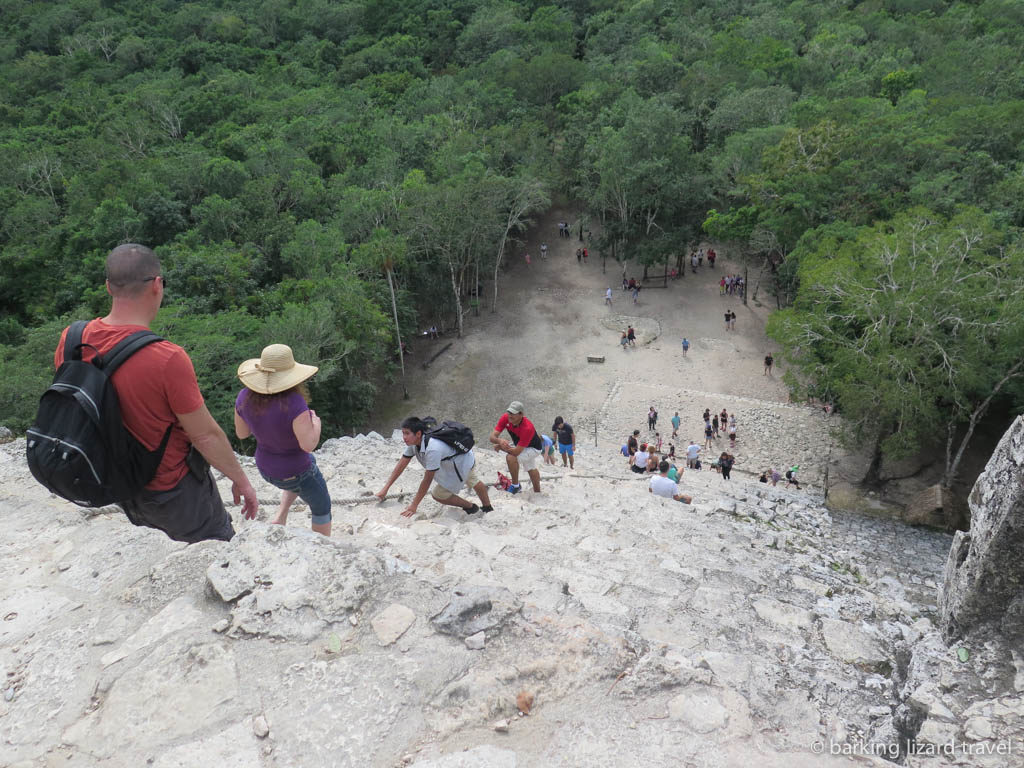 view from the top of the great pyramid at the coba mayan ruins