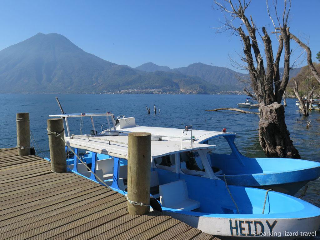 a photo of a lancha called heidy moored on lago de atitlan