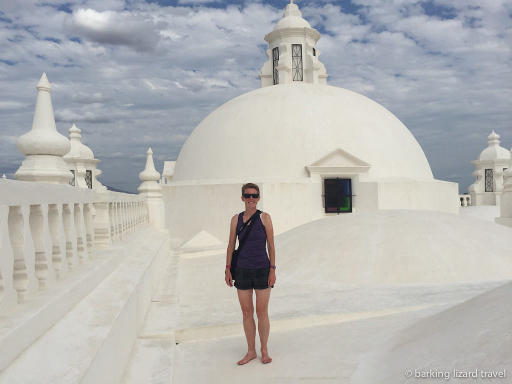 ydia on the roof of leon cathedral in nicaragua