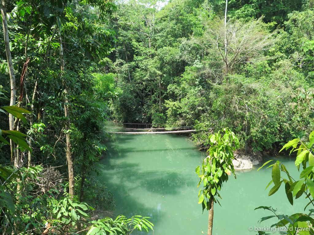 A rope bridge across the Rio Agujitas in bahia drake osa peninsula
