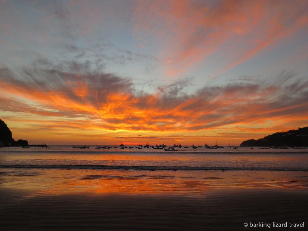 Sunset over san juan del sur bay nicaragua