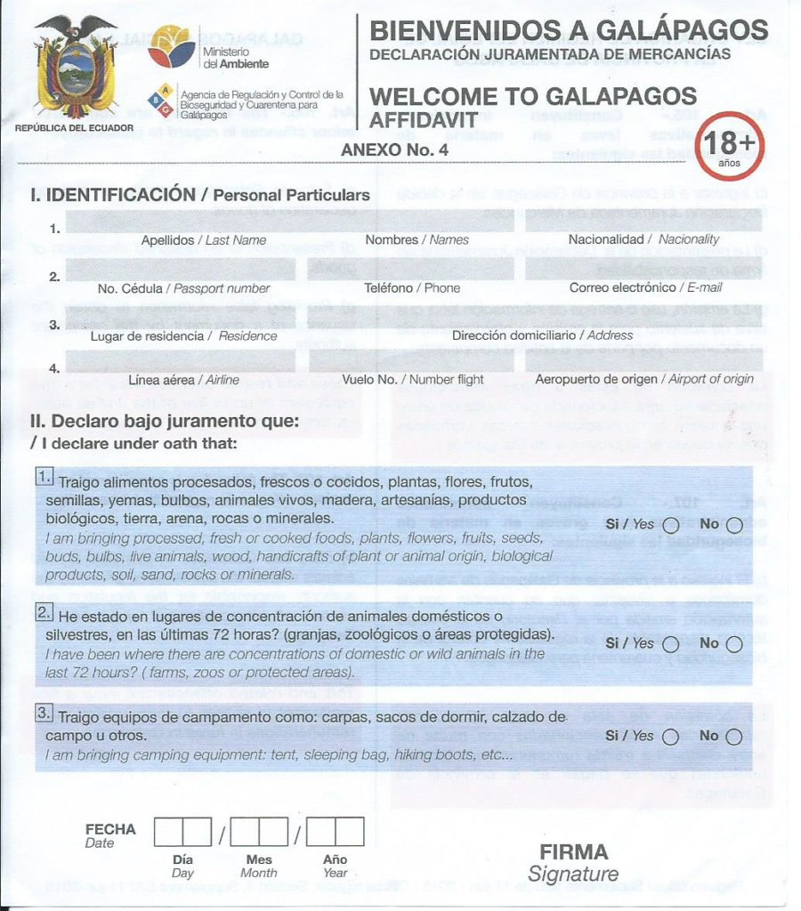 An image of a blank Galapagos Islands declaration form