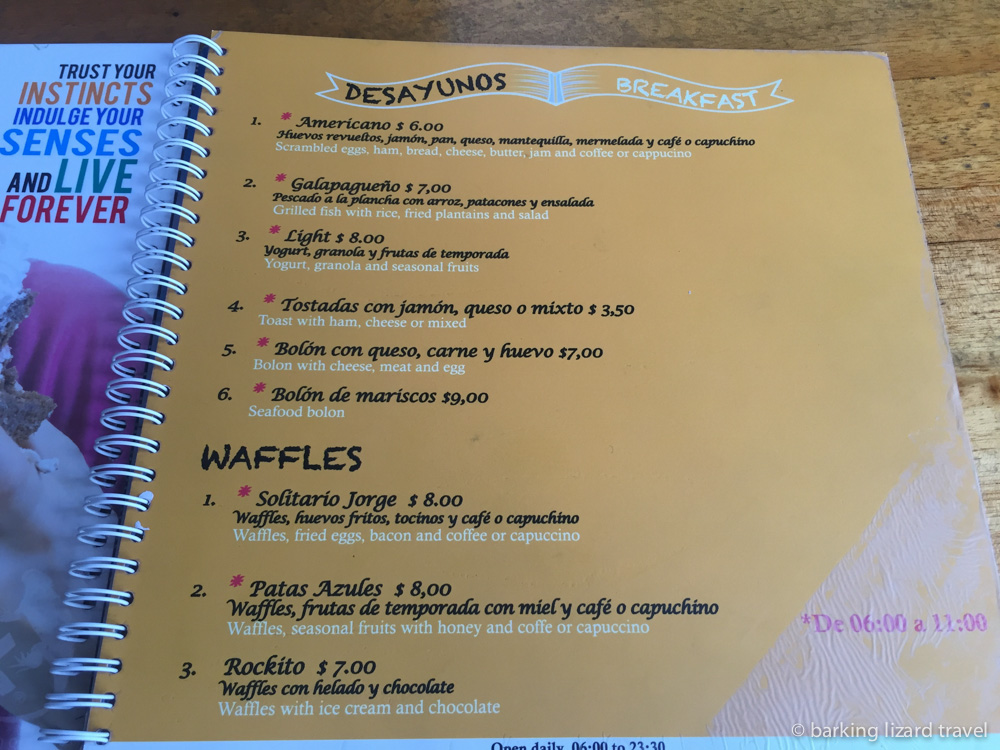 photo of the breakfast menu at the Rock restaurant in Puerto Ayora, Santa Cruz