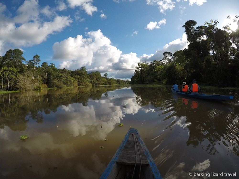 image of tourists canoeing in the amazon rainforest peru